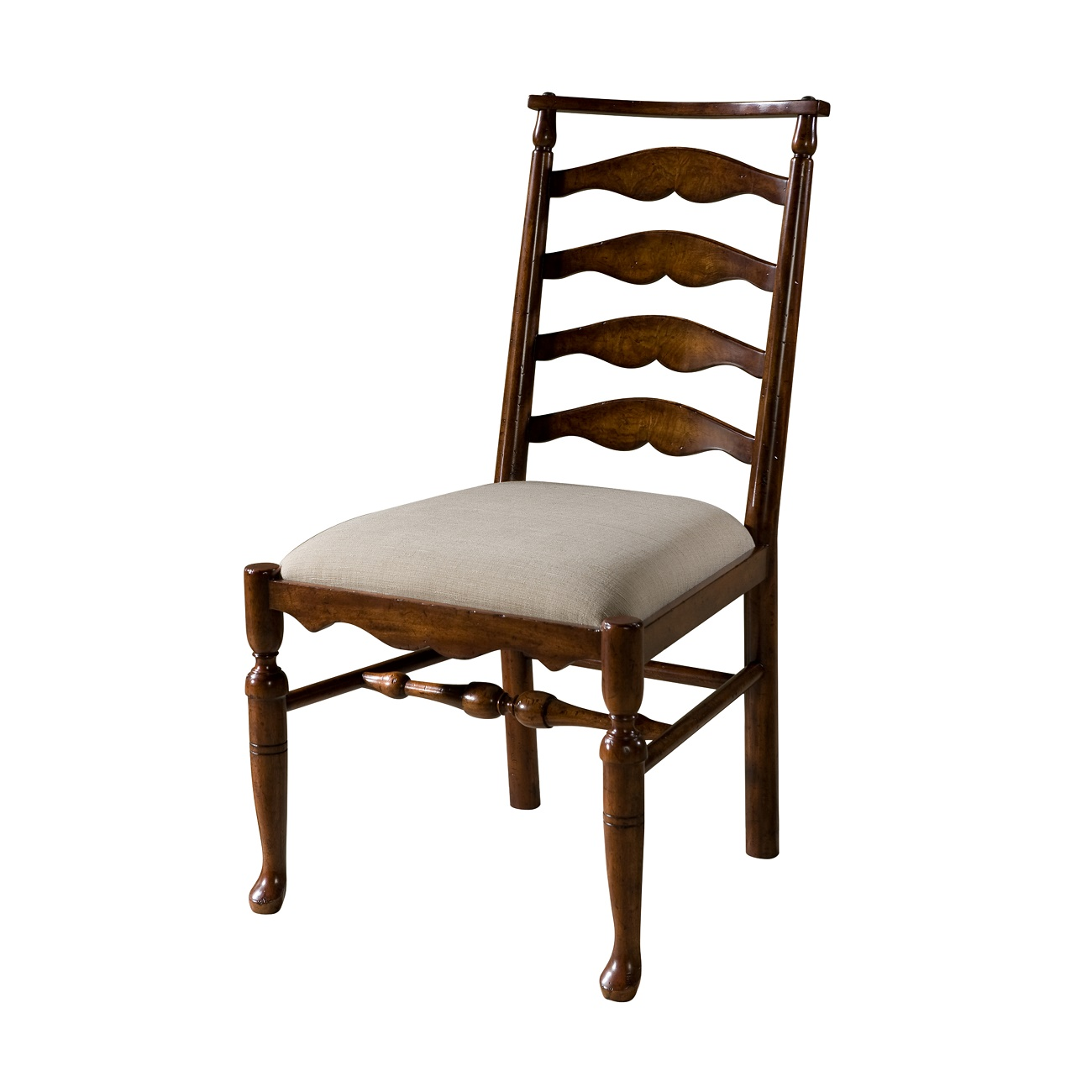 hand carved mahogany ladder back chair