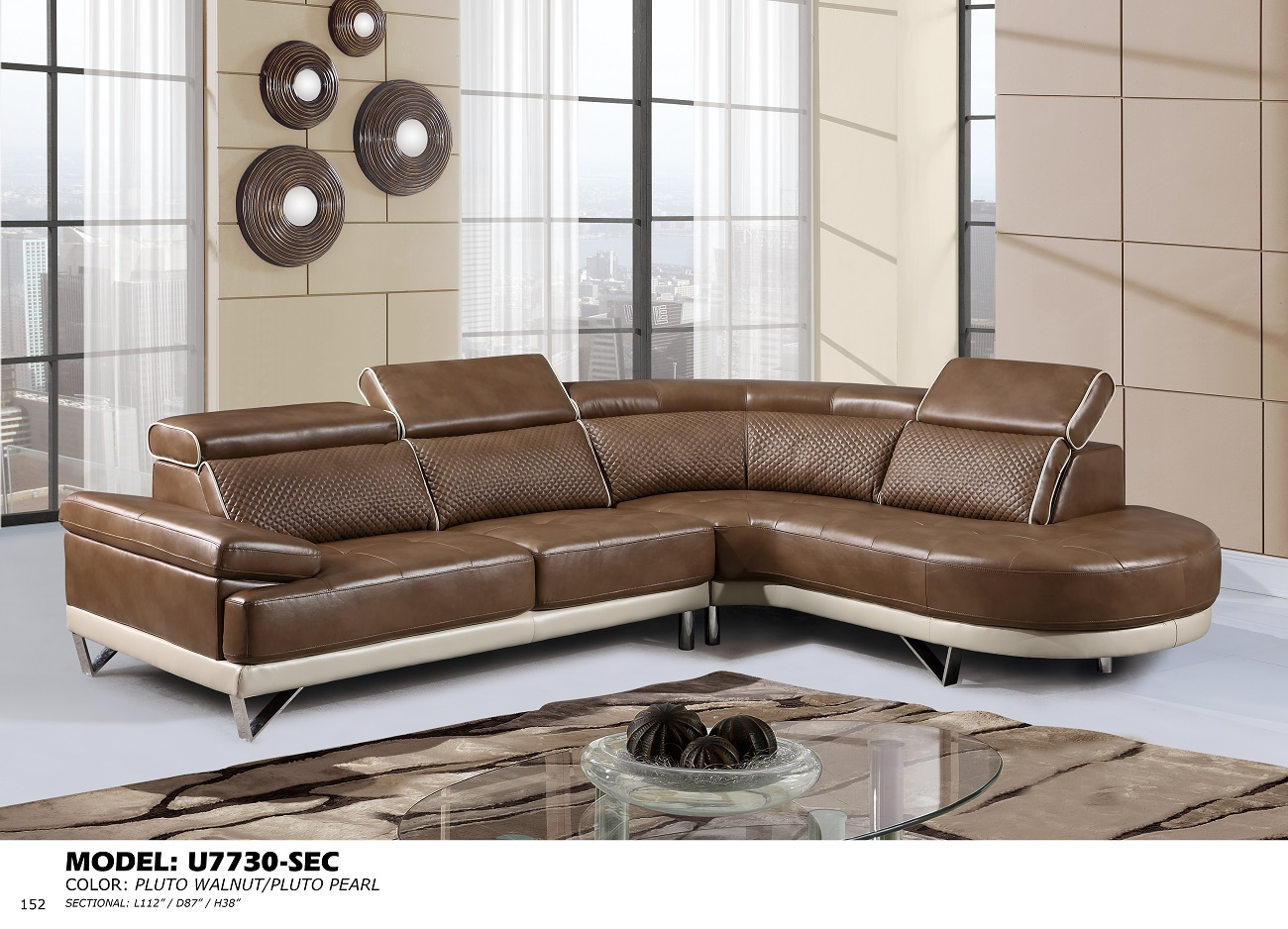 U7730 walnut pearl sectional sofa