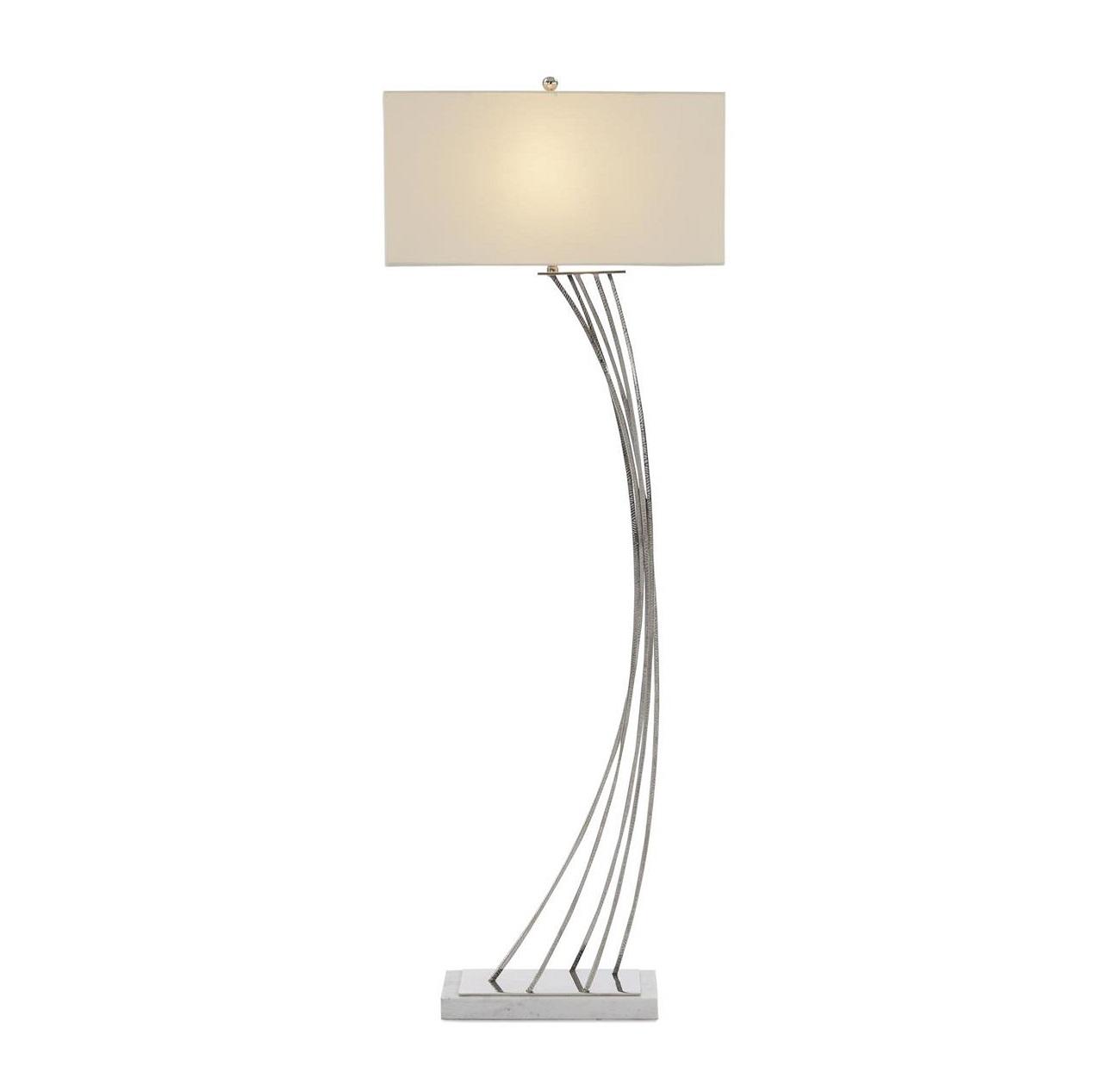 Cambered Nickel Floor Lamp, John Richard Floor Lamp, Brooklyn, New York, Furniture y ABD