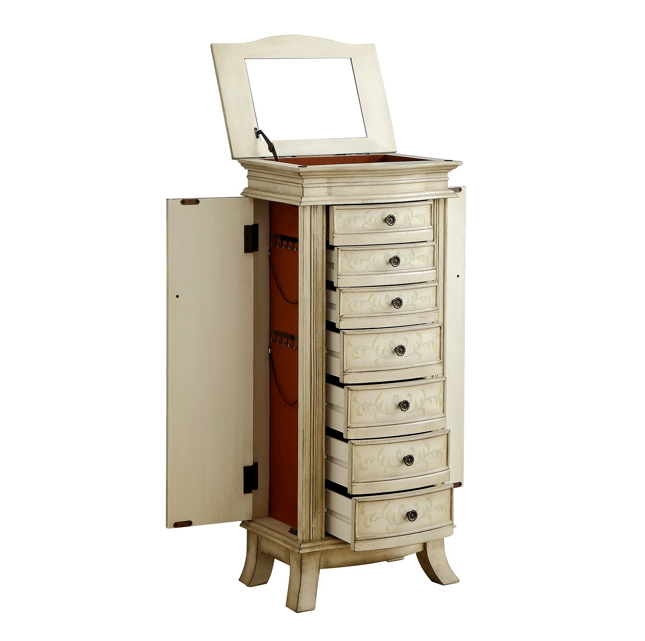 seven drawers plus side doors