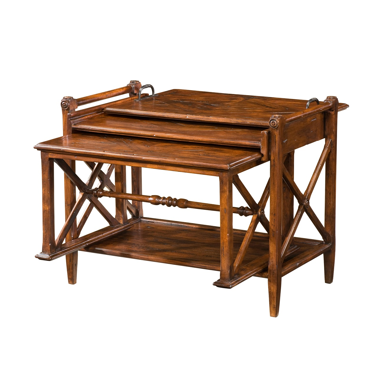 A Rustic deal Nesting Table, Theodore Alexander Table, Brooklyn, New York