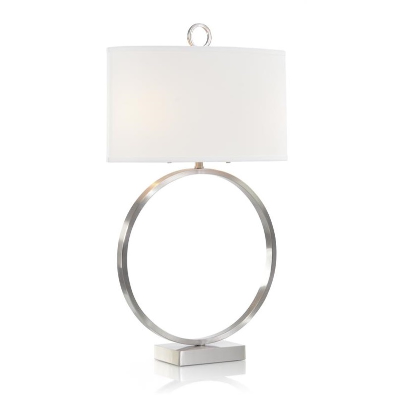 Brushed Nickel Small Open-Ring Table Lamp, John Richard Table Lamp, Brooklyn, New York, Furniture y ABD