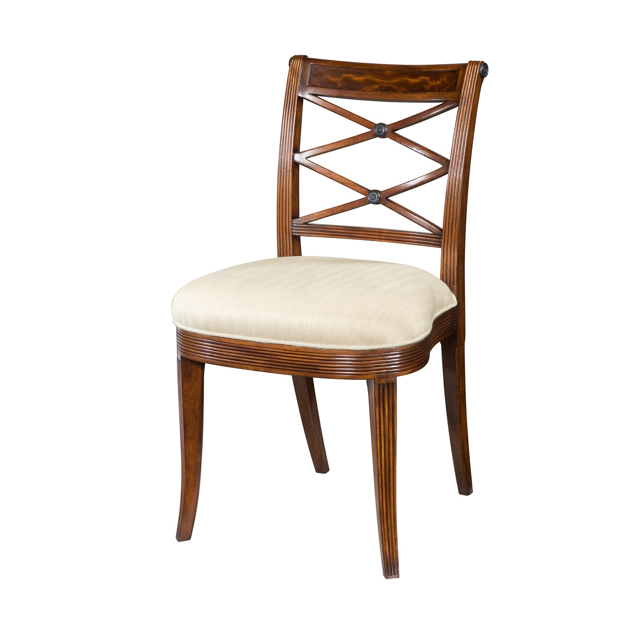hand carved side chair with reeded decoration the over scroll and double x pierced back above an upholstered seat on sabre legs
