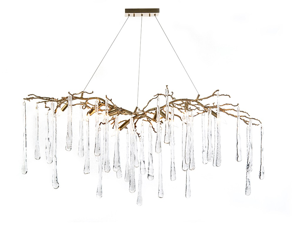 Brass and Glass Teardrop Nine-Light Chandelier, John Richard Chandelier