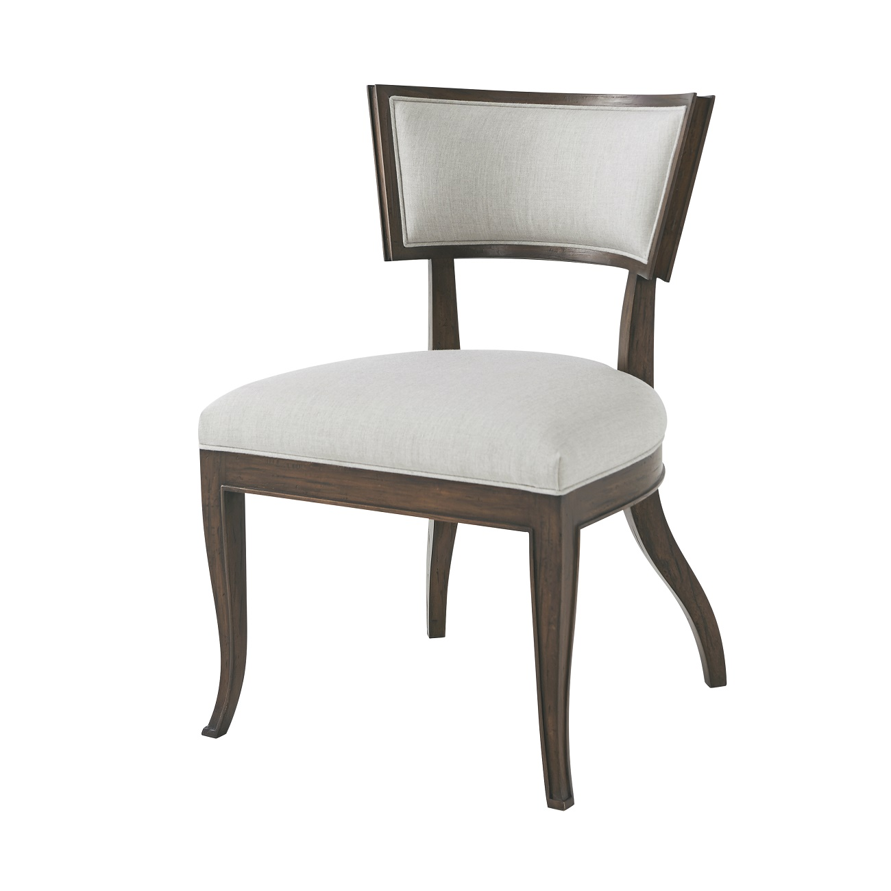 klismos dining chair mahogany with aged pecan finish  upholstered back and seat