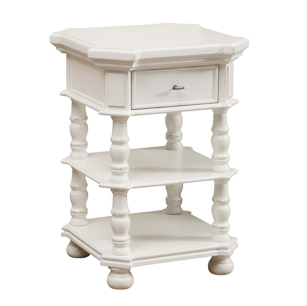Cirrus White rub finished accent table