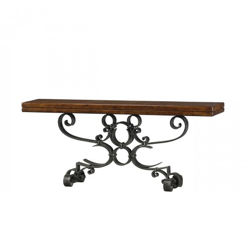 5311 033 Antiqued Iron Scrolls Console Theodore Alexander