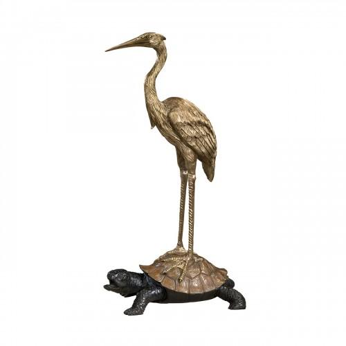 Symbolic Crane On Turtle Tabletop, Theodore Alexander Tabletop, Brooklyn, New York, Furniture by ABD