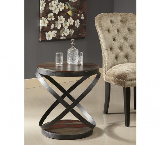 rich solid wood base and top on this artfully designed accent table