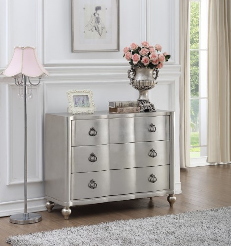 three drawer chest finish in a brushed silver leaf