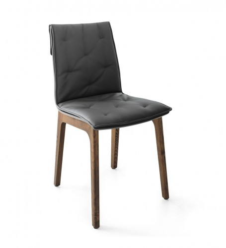 chair with stained solid wood frame and wood shell