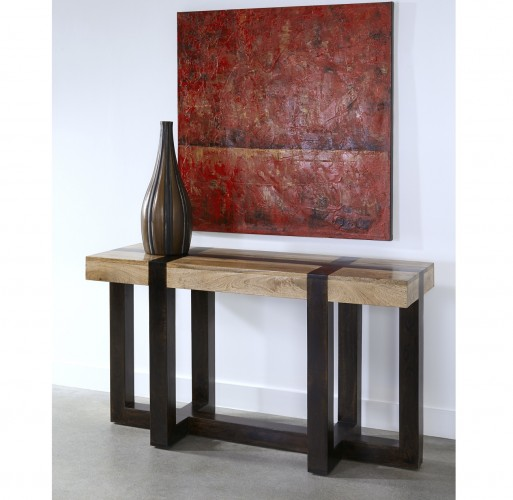 75314 console table has a sharp contrast of design lines and finishes