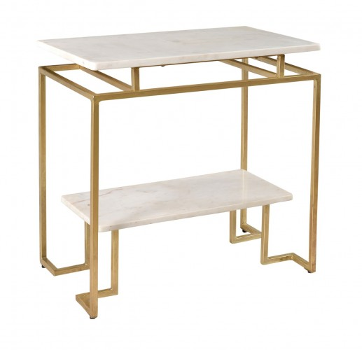 Gold metal frame on this stunning accent table
