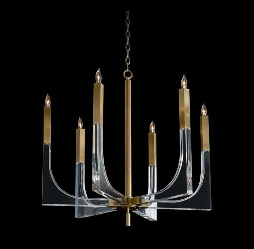 Acrylic and Brass Six-Light Chandelier, John Richard Chandelier, Brooklyn, New York, Furniture y ABD