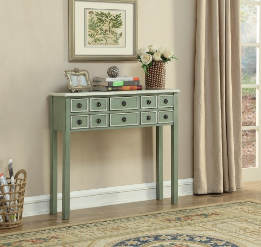 13702 console finished in our springtime fresh Coulters Pale Green