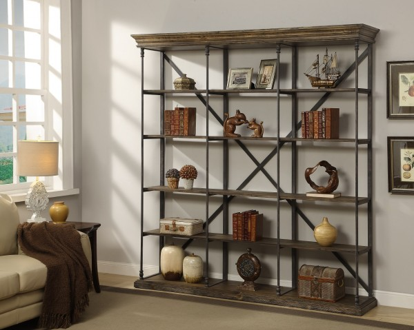 this bookcase has an industrial vibe