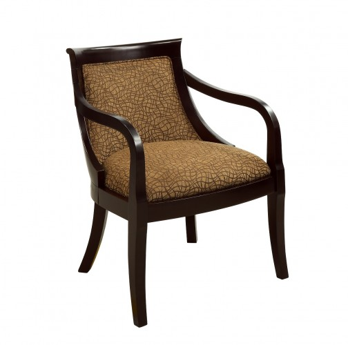 Solid wood frame features a Titan Brown finish Accent Chair