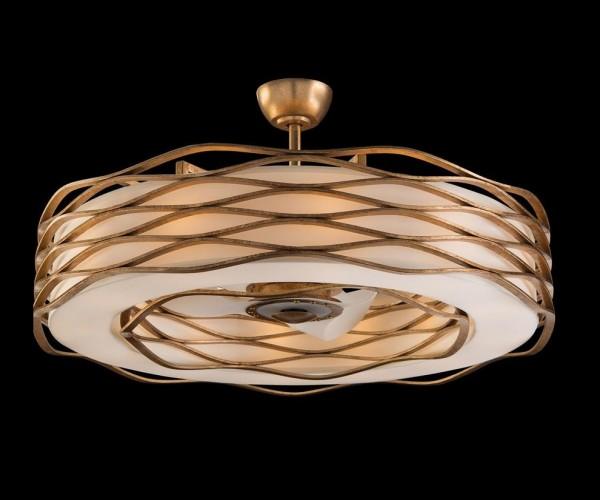 Ribbons of Gold Twelve Light Pendant with Fan, John Richard Pendant, Brooklyn, New York, Furniture y ABD