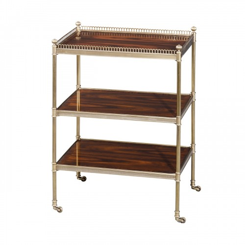 RE50010 Dignified Rosewood Etagere Bar Cart Theodore Alexander
