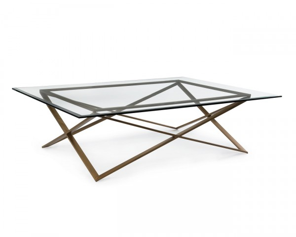 John Richard Modern Glass & Brass Coffee Table for Sale