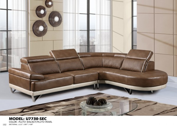U7730 walnut pearl sectional sofa
