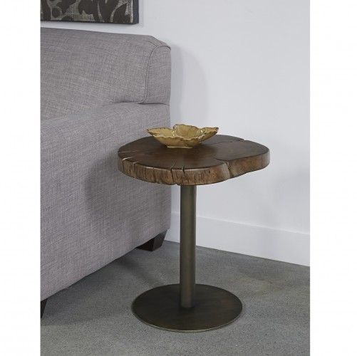 our accent table constructed with a metal post base