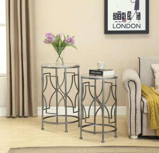 set of of 2 round nesting accent tables will be a perfect adddition to any home