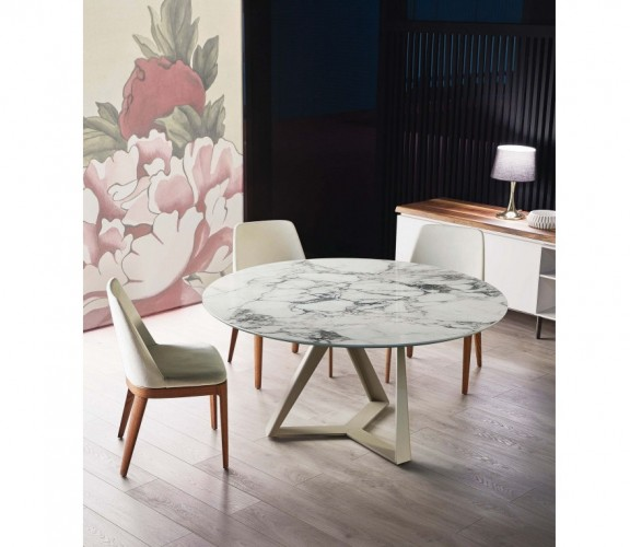 round fixed table with metal frame and top in supermarble