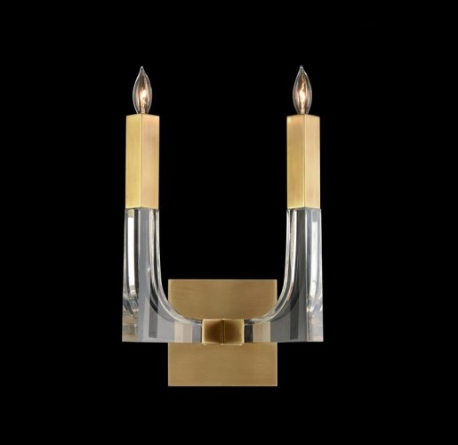 Acrylic and Brass Two-Light Wall Sconce, John Richard Wall Sconce, Brooklyn, New York, Furniture y ABD