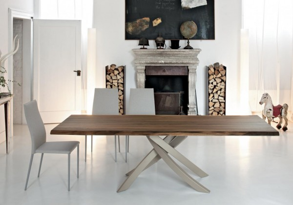 rectangular table with metal frame and solid wood top