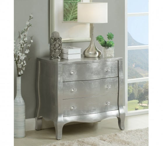 Starlet Silver finish makes this three drawer chest