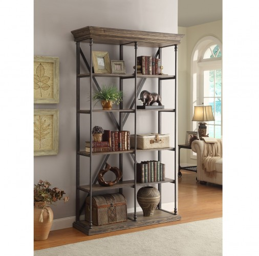 this etagere has the natural charm of reclaimed wood