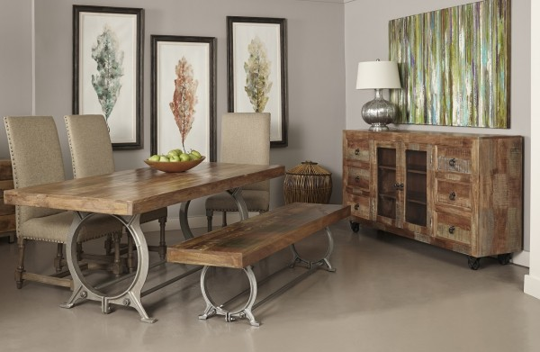 this dining room table is a rich and masterful blend of rustic reclaimed wood