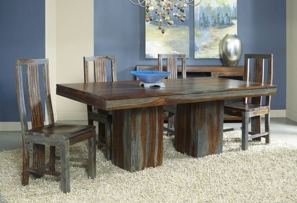dining table supported by two sturdy pedestals