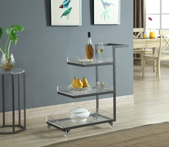 guests will love this sleek and modern 3 tiered serving cart