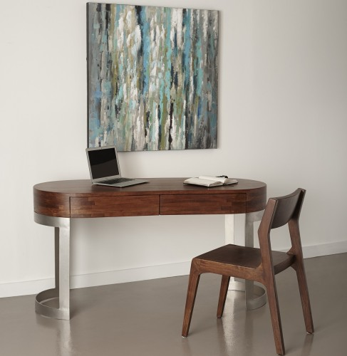 sophisticated and stylish describe this two drawer writing desk