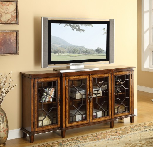 four-door media cabinet has a warm Cresthill Brown finish