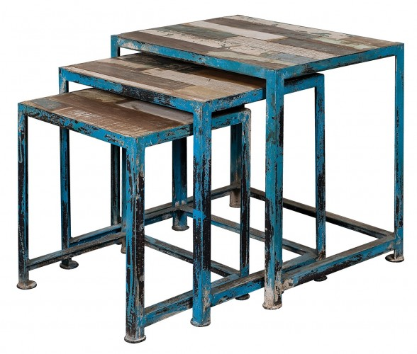distinctive Mango Wood tops rest on distressed blue iron bases