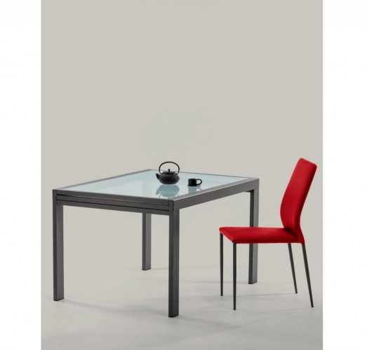 rectangular extendable table with one extension