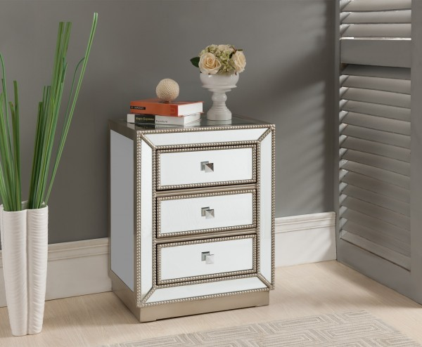 The mirrored insets reflect light and add sparkle all over