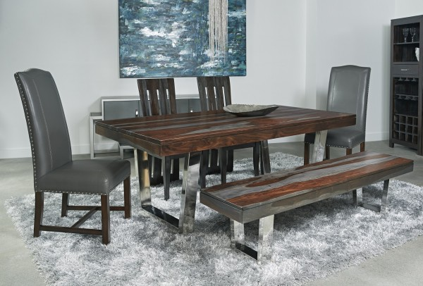 u shaped legs give a airy sophisticated look to this extraordinary dining table