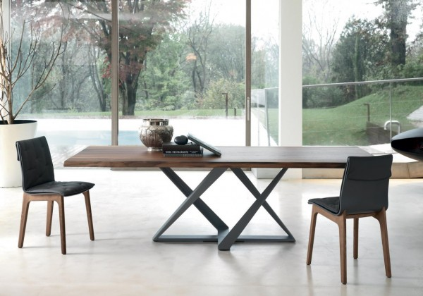 rectangular fixed table with metal frame millennium top in solid wood