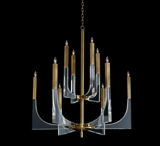 Acrylic and Brass Ten Light Chandelier, John Richard Chandelier, Brooklyn, New York, Furniture y ABD
