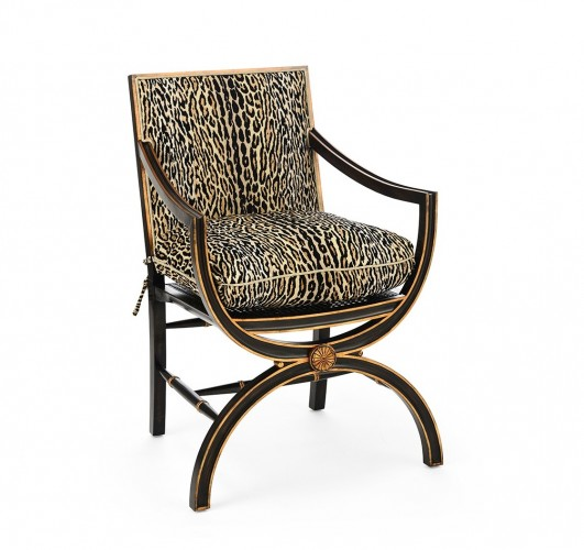 Armchair with Églomisé Arabesque Back,  John Richard Armchair