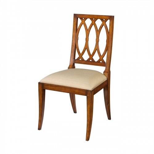 mahogany lattice back side chair from theodore alexander