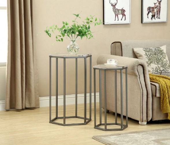 Ultra Modern 2 Piece Nesting Table Set