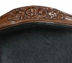 Dark Brown finish is embellished with intricate hand-carved details