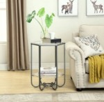 fun hexagonal shape of this accent table