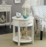 Our round accent table has a single drawer on top