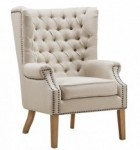 Cheap Wingback Chairs For Sale, Abe Beige Linen Wing Chair